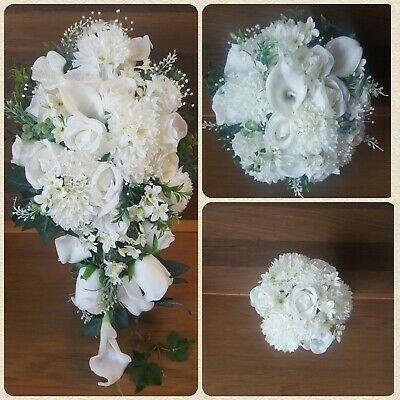 Wedding Flowers Ivory. Bridal Bouquets. Flower Girl Basket. Corsage. Buttonholes