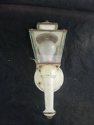 Vintage Glass, Brass Rustic wall mounted BEVELED GLASS PORCH LIGHT Salvaged  (A4