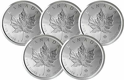 Lot of 5 - 2019 $5 1oz Canadian Silver Maple Leaf Incuse .9999 BU