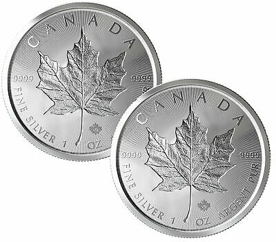 Lot of 2 - 2019 $5 1oz Canadian Silver Maple Leaf Incuse .9999 BU