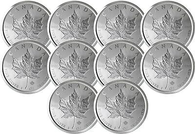 Lot of 10 - 2019 $5 1oz Canadian Silver Maple Leaf Incuse .9999 BU