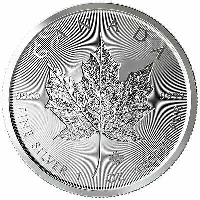 Tube of 25 - 2019 $5 1oz Canadian Silver Maple Leaf Incuse .9999 BU