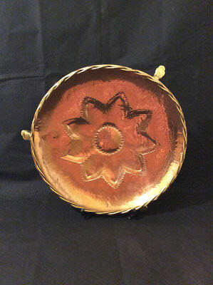 Antique Victorian Arts and crafts copper and brass footed hand hammered charger