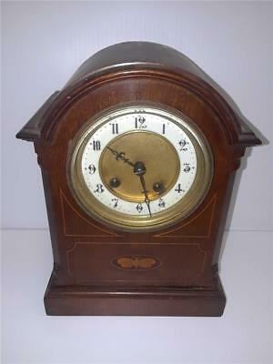 Beautiful Hamburg Mantel Clock w/ Butterfly Inlay for Parts/Repair