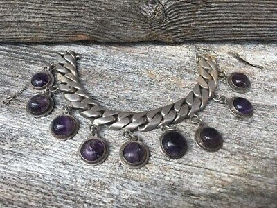 EPIC Vtg Antique Art Deco TAXCO Mexico Amethyst Heavy Chain Bracelet Pre-Eagle