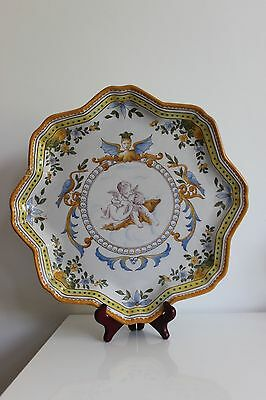 Antique large  platter french majolica faience Molin Charolles 1900 cherub putti