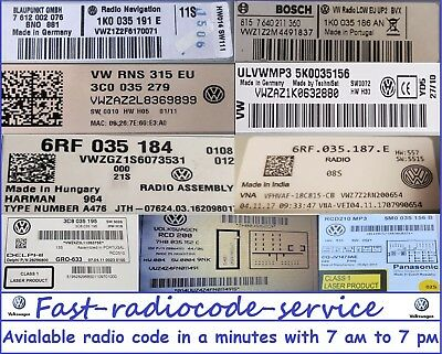 Unlock VW radio code RCD310 510 RCD210 RNS300 RNS310 RNS315 *Fast* Really fast*