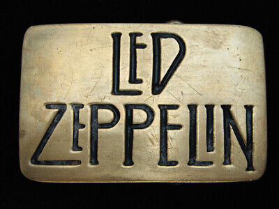 Qi13173 Vintage 1980 *Led Zeppelin* Music Band Commemorative Solid Brass Buckle