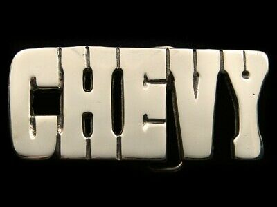 RI11139 VINTAGE 1970s **CHEVY** CAR COMPANY POLISHED SOLID BRASS BELT BUCKLE