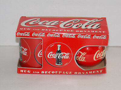 COCA COLA Mug and Decoupage Ornament - 1996