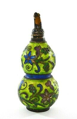 "Chinese Silver Enamel Gourd Shaped Snuff Bottle Marked ""Silver"""