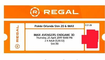 2 AVENGERS ENDGAME IMAX 3d 10pm tickets sold out!! Pointe Orlando Regal