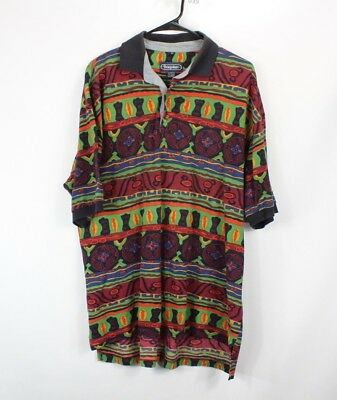 4779eb178 Vintage 90s Mens Large Abstract Tribal Print Short Sleeve Polo Collared  Shirt
