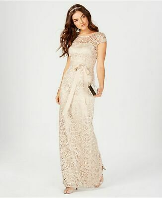 New $320 Adrianna Papell Women'S Beige Lace Cap-Sleeve Gown Formal Dress Size 4