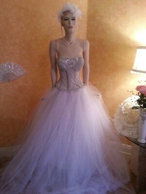 Victorian Style Crystal Sheer Boned White Silver Corset Tulle Wedding Ball Gown