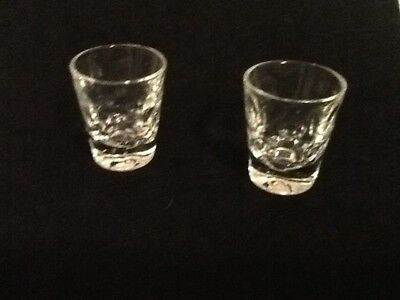 """Pair Vintage Thumb Print Design Shot Glass Clear 2.25"""" tall  Shooters MINT Heavy"""