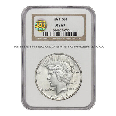 1924 $1 Peace Dollar NGC MS67 PQ Approved CoinStats Gem Philadelphia Silver