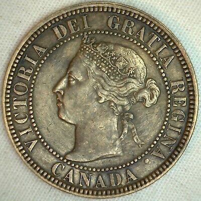 1901 Copper Canadian Large Cent Coin 1-Cent Canada XF K8