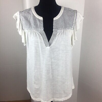 6f6fd8fcbc3aa9 Caslon Eyelet Embroidered Flutter Sleeve Top Peasant Blouse NWT Size Medium