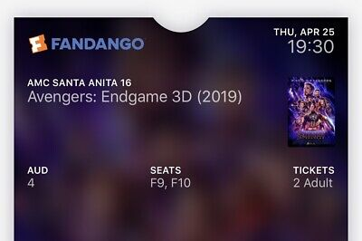 2 Avengers Endgame Tickets Real 3D LA April 25th Reserved Seating