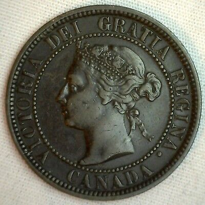 1886 Copper Canadian Large Cent One Cent Coin VF #10
