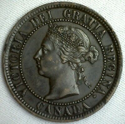 1884 Copper Canadian Large Cent One Cent Coin VF #9