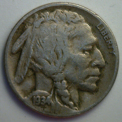 1934 D Buffalo Nickel 5 cent US United States Coin VF