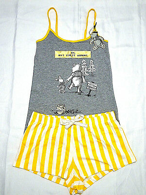 Winnie The Pooh Official Disney New Ladies Vest & Shorts Pyjama Set Pj's Primark