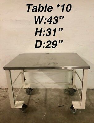 "43""x29""x31"" Tall Laboratory Rolling Desk Table Stainless Steel"