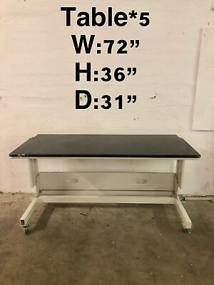 "72""x31""x36"" Tall Laboratory Desk Table with Epoxy top"