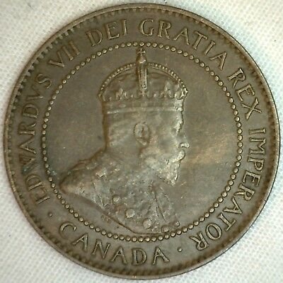 1906 Copper Canadian Large Cent Coin 1-Cent Canada XF K4