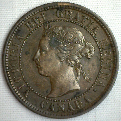 1882 Copper Canadian Large Cent One Cent Coin XF #9