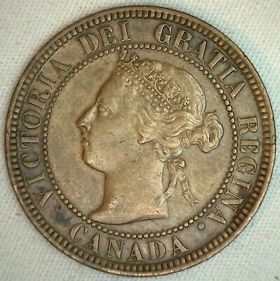 1901 Copper Canadian Large Cent Coin 1-Cent Canada XF K7