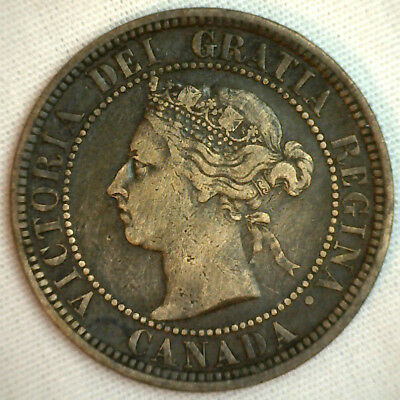1888 Copper Canadian Large Cent One Cent Coin VF #8