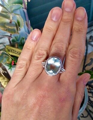 Wow 9.65ct Natural EarthMined Aquamarine Sterling  Silver Platinum over ring6.25