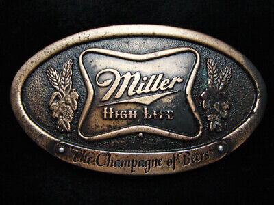 Pd23138 Vintage 1975 **Miller High Life The Champagne Of Beers** Belt Buckle