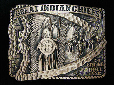 Pl25168 *Nos* 1983 **Great Indian Chiefs** Sitting Bull Solid Brass Belt Buckle