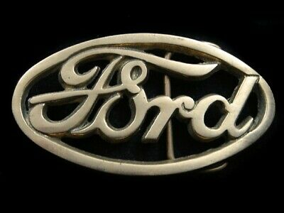 SA01109 VINTAGE 1970s *FORD* MOTOR COMPANY ADVERTISEMENT SOLID BRASS BELT BUCKLE