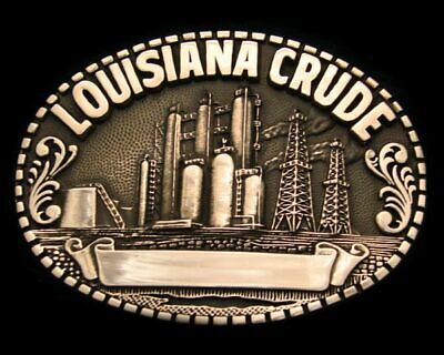 QD04173 GREAT 1980s **LOUISIANA CRUDE** OIL DERRICK SOLID BRASS OILFIELD BUCKLE