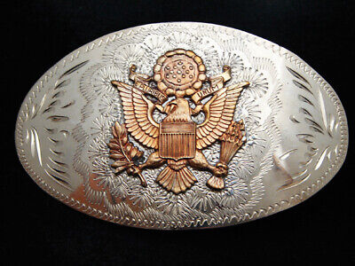 PD23164 VINTAGE 1970s **UNITED STATES SEAL** ENGRAVED TROPHY STYLE BELT BUCKLE