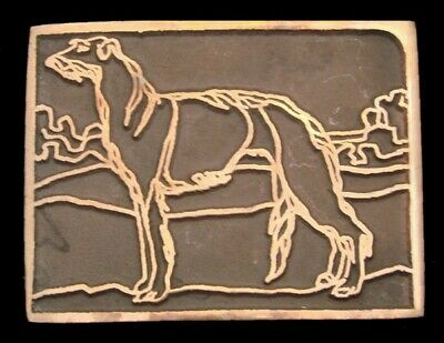 PD22177 *NOS* VINTAGE EARLY 1970s UB **AFGHAN HOUND** DOG SOLID BRONZE BUCKLE