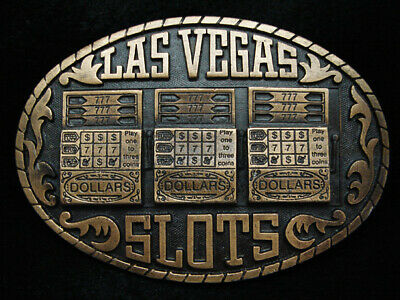 Pd05114 Vintage 1983 **Las Vegas Slots** Commemorative Brasstone Belt Buckle