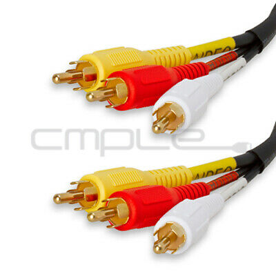 Video 3 RCA Composite Video Audio A/V AV Cable GOLD 1.5 FT