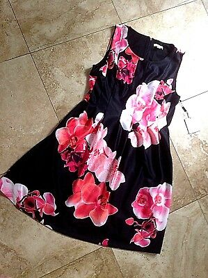 Nwt Size 14 Calvin Klein Dress Fit&Flare, Blk/ Coral, Mango, Pink, Wht , $134.00