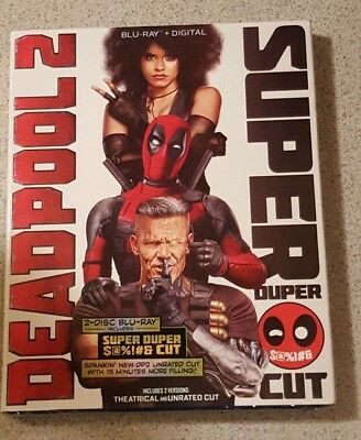 Deadpool 2 (Blu-ray+Digital, 2018 2-Disc Super Duper Cut) +Slipcover New Sealed