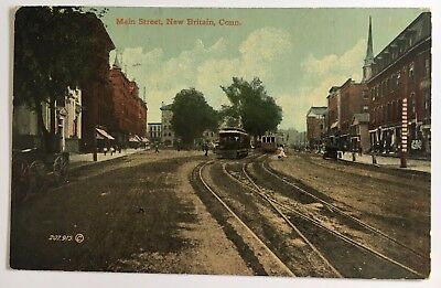 1913 CT Postcard Vintage Trolleys New Britain Connecticut Main Street tracks