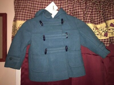Vintage 1940s Lord & Taylor GreenWool Toggle Jacket Coat w/ Hood Childrens Sz T3