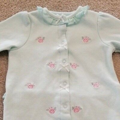 bb3359eaf Little Me Newborn Baby Light Blue Polka Dot Roses Footed Sleeper Outfit  Reborn
