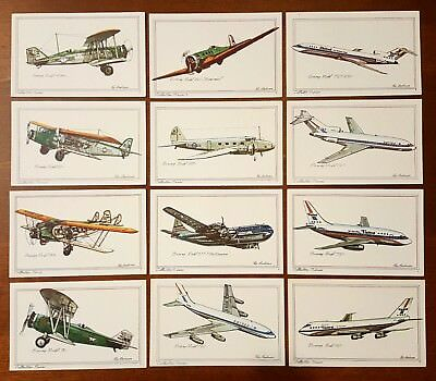 Set of 12 BOEING postcard lot Collector Series by Roy Andersen United Airlines