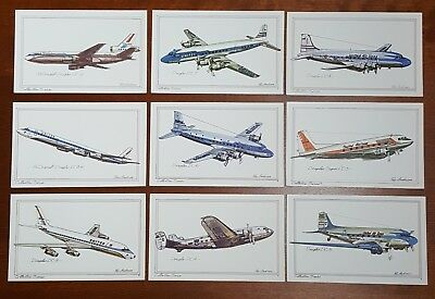 Set of 9 Douglas postcard lot Collector Series by Roy Andersen United Airlines